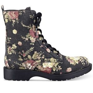 G by Guess floral combat boots